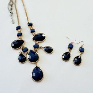 Blue Gold Earrings & Necklace Set